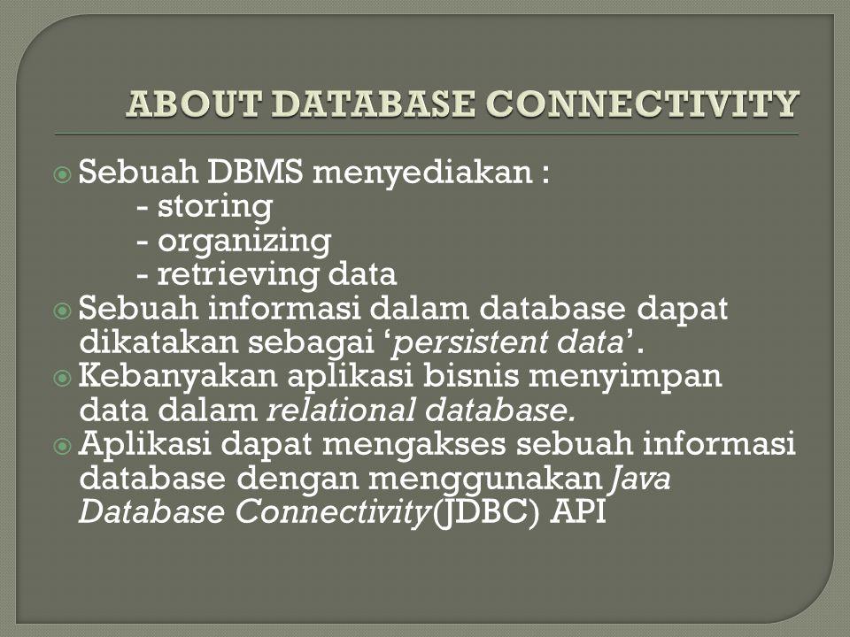  Sebuah DBMS menyediakan : - storing - organizing - retrieving data  Sebuah informasi dalam database dapat dikatakan sebagai 'persistent data'.