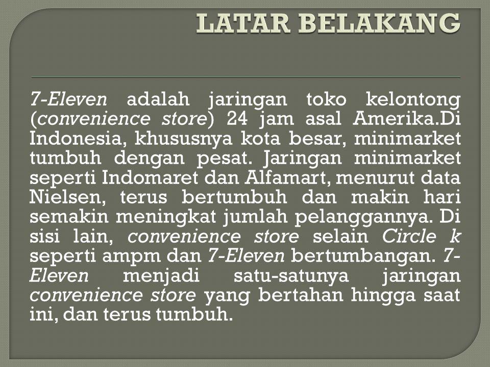 7-Eleven adalah jaringan toko kelontong (convenience store) 24 jam asal Amerika.Di Indonesia, khususnya kota besar, minimarket tumbuh dengan pesat. Ja