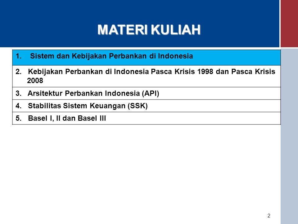 Sistem dan Kebijakan Perbankan di Indonesia Dasar: UU BI, UU Perbankan Visi dan Misi BI Ada kebijakan yang relatively tidak diganti dalam jangka panjang.