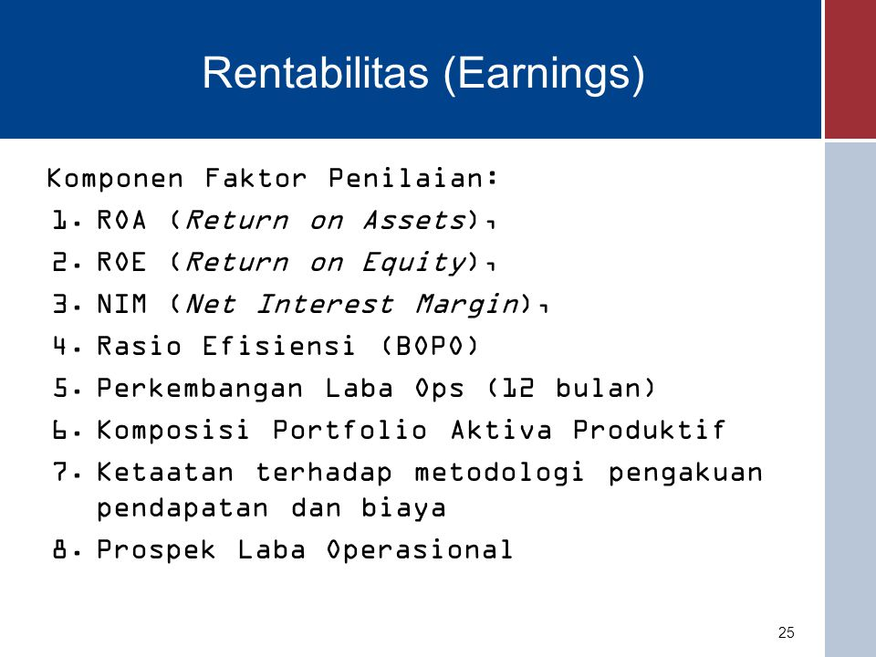 Rentabilitas (Earnings) Komponen Faktor Penilaian: 1.ROA (Return on Assets), 2.ROE (Return on Equity), 3.NIM (Net Interest Margin), 4.Rasio Efisiensi