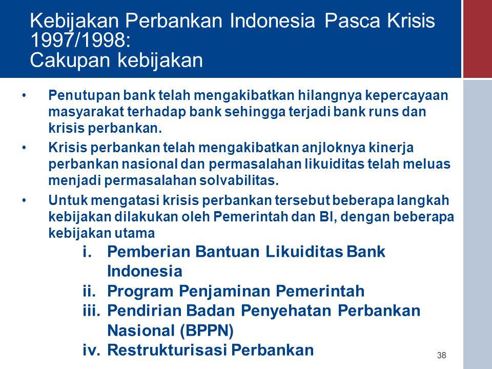 i.Pemberian Bantuan Likuiditas Bank Indonesia (BLBI) :  Seperti diuraikan sebelumnya penutupan bank telah mengakibatkan terjadinya penarikan dana besar-besaran (Bank Runs) pada sejumlah bank.
