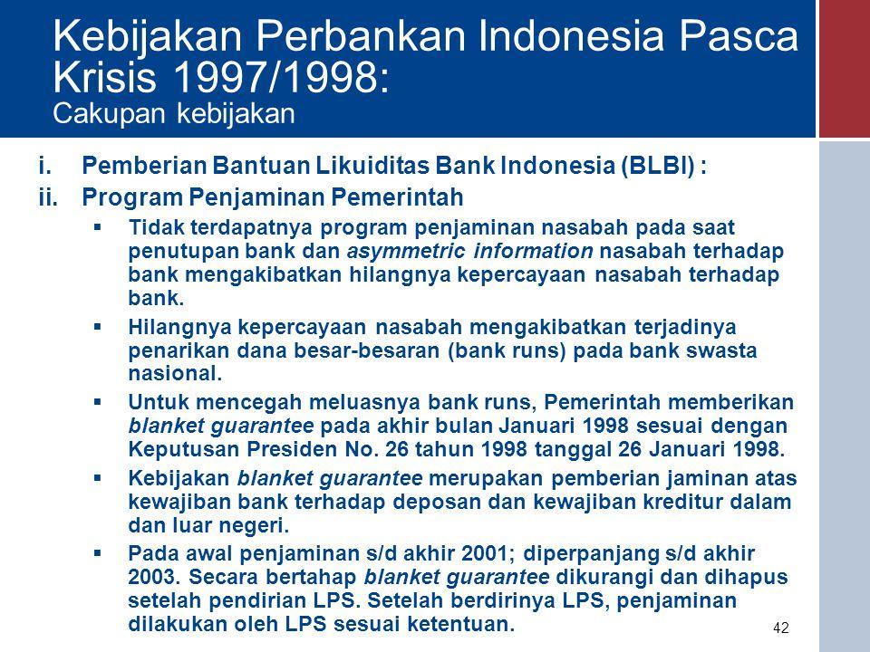 iii.Pembentukan Badan Penyehatan Perbankan Nasional (BPPN)  BPPN didirikan dengan maksud agar terdapat lembaga tersendiri untuk menyehatkan perbankan bermasalah sehingga BI dapat lebih berkonsentrasi mengawasi dan membina bank.