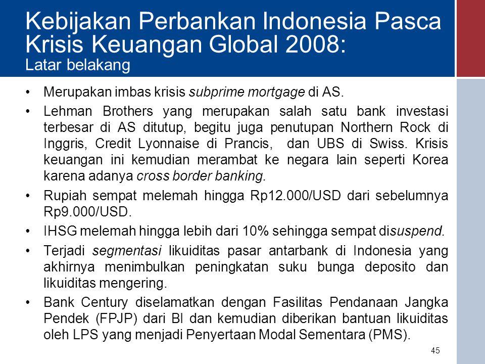 Kebijakan Perbankan Indonesia Terkait Krisis Keuangan Global 2008 Latar belakang 46 Sumber: BI dan Yahoo Finance Sumber: BI