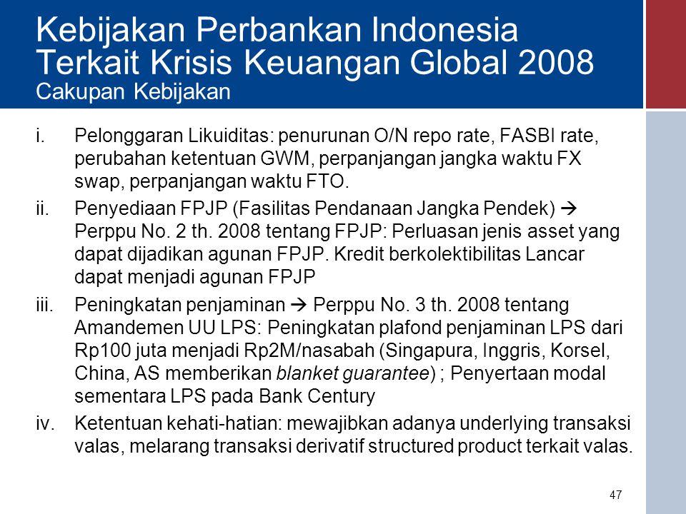 Kebijakan Perbankan terkait Krisis Keuangan Global TanggalKebijakan 16 September 2008 -BI menurunkan O/N repo rate plus 300bps menjadi BI rate plus 100 bps.