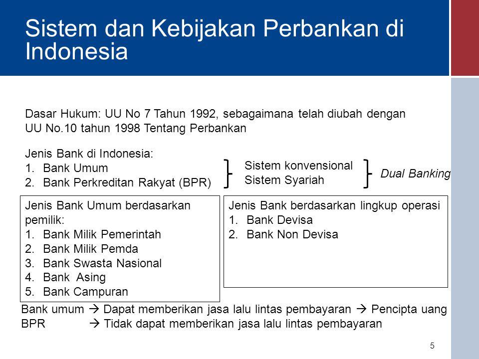 Peranan BI dalam Kebijakan Perbankan Perbankan Indonesia telah ada sebelum kemerdekaan UU No.