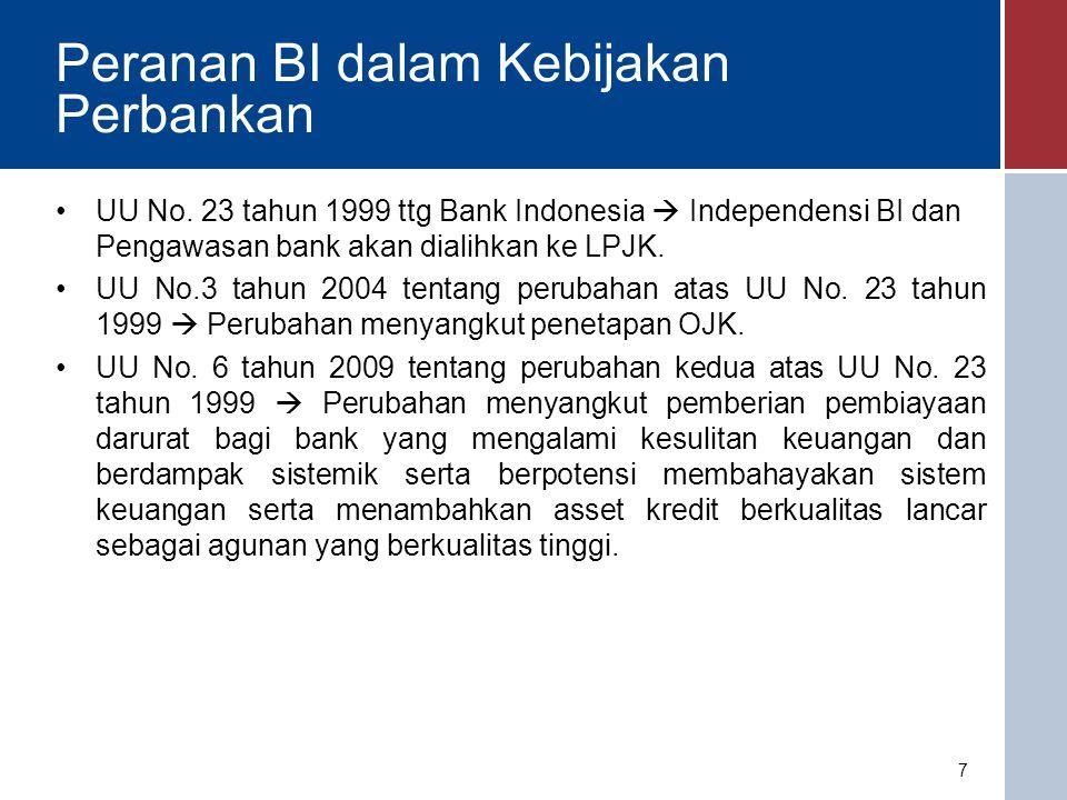 Pengertian Kebijakan Perbankan Seperangkat alat-alat dalam rangka pengawasan, pengaturan dan pengembangan perbankan di Indonesia baik secara individu maupun secara keseluruhan yang terdiri dari dasar hukum/perundang- undangan dan peraturan, kewenangan, sistem pengawasan, sistem informasi, dan termasuk pengenaan sanksi untuk mencapai tujuan yang telah ditetapkan.