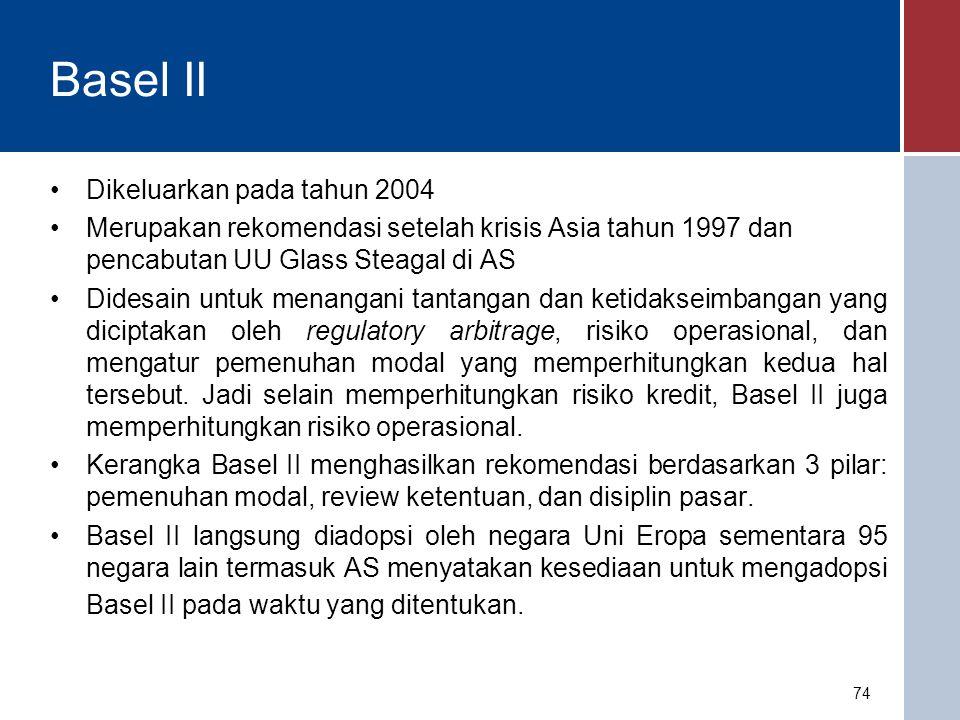 Basel III Basel III adalah versi terbaru yang diperkenalkan Komite Basel pada tahun 2010 sebagai respon kegagalan pengaturan dan pengawasan dalam menangani krisis subprime mortgage yang berawal di AS yang kemudian diikuti oleh krisis perbankan dan krisis keuangan global di seluruh dunia.
