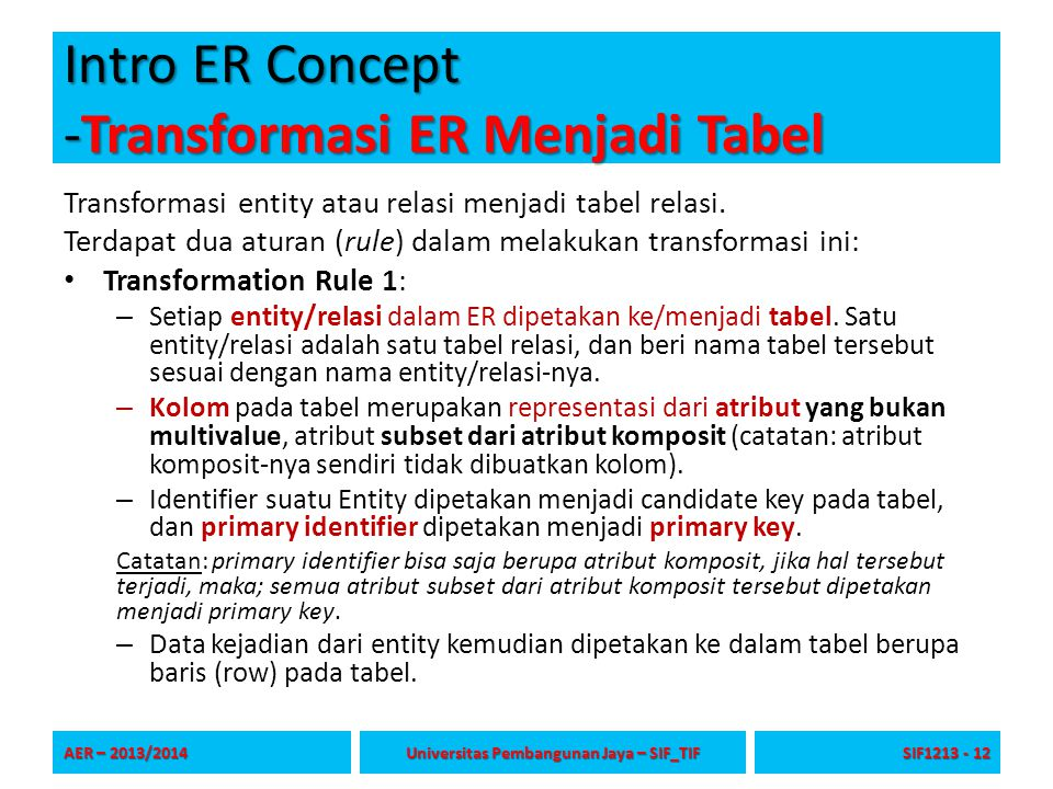 Intro ER Concept -Transformasi ER Menjadi Tabel Transformasi entity atau relasi menjadi tabel relasi. Terdapat dua aturan (rule) dalam melakukan trans