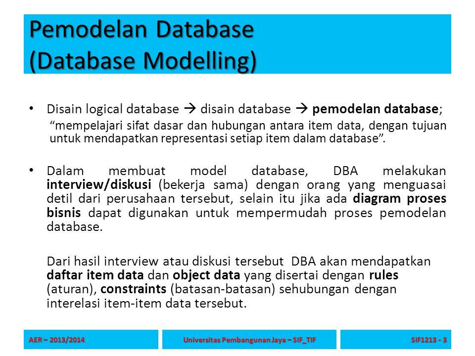 """Pemodelan Database (Database Modelling) Disain logical database  disain database  pemodelan database; """"mempelajari sifat dasar dan hubungan antara i"""