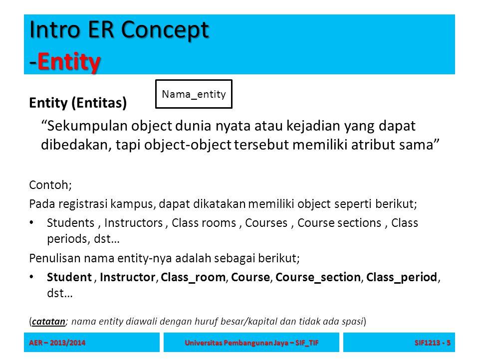 "Intro ER Concept -Entity Entity (Entitas) ""Sekumpulan object dunia nyata atau kejadian yang dapat dibedakan, tapi object-object tersebut memiliki atri"