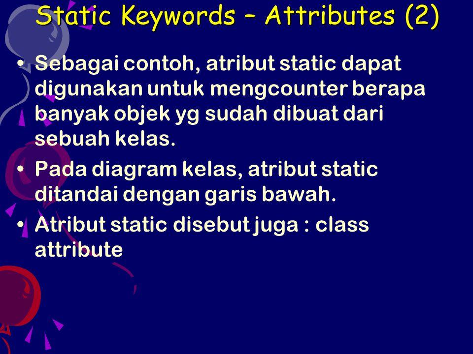 Variable Length Arguments (1) public class VarArgs { public void cobaVa(int...v) { int c; System.out.println( Banyaknya argumen : + v.length); for (c = 0; c < v.length; c++) System.out.println( Argumen ke- + c + : + v[c]); } //------------------------------------------------------------------- public class TestVarArgs { public static void main(String[] args) { VarArgs varg = new VarArgs(); varg.cobaVa(); varg.cobaVa(7); varg.cobaVa(3, 7, 5); varg.cobaVa(1, 3, 5, 7, 9, 8, 6, 4, 2, 0); }