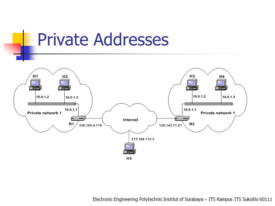 Electronic Engineering Polytechnic Institut of Surabaya – ITS Kampus ITS Sukolilo 60111 Network Address Translation (NAT) NAT adaah sebuah fungsi router yang memetakan alamat IP private (Lokal) ke alamat IP yang dikenal di Internet, shg jaringan private bisa internetan NAT merupakan salah satu metode yang memungkinkan host pada alamat private bisa berkomunkasi dengan jaringan di internet NAT jalan pada router yang menghubungkan antara private networks dan public Internet, dan menggantikan IP address dan Port pada sebuah paket dengan IP address dan Port yang lain pada sisi yang lain