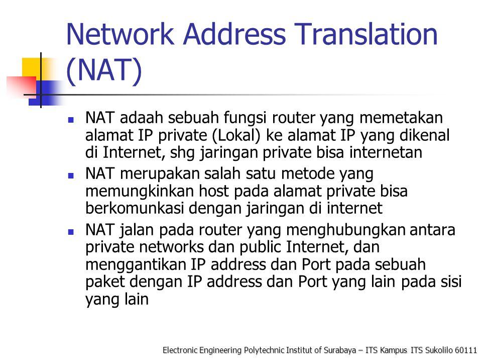 Electronic Engineering Polytechnic Institut of Surabaya – ITS Kampus ITS Sukolilo 60111 Operasi Dasar NAT NAT device mempunyai Tabel Penterjemah