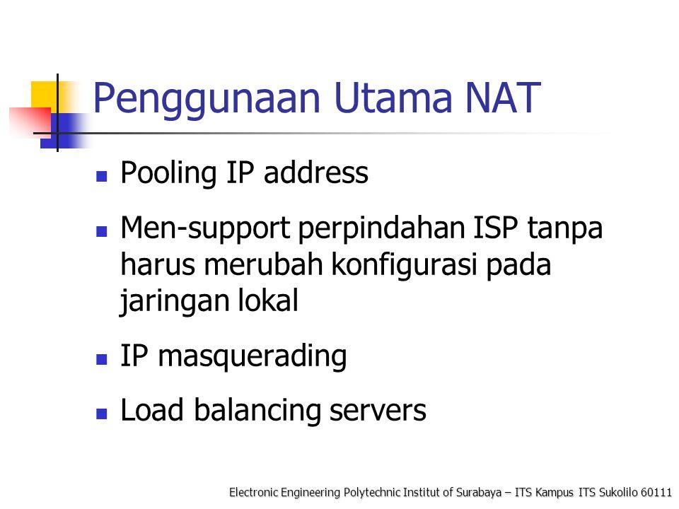 Electronic Engineering Polytechnic Institut of Surabaya – ITS Kampus ITS Sukolilo 60111 Permasalahan NAT IP address pada data aplikasi: Aplikasi yang membawa IP Address dalam payload umumnya tidak bisa bekerja untuk melewati lingkungan jaringan private- public.