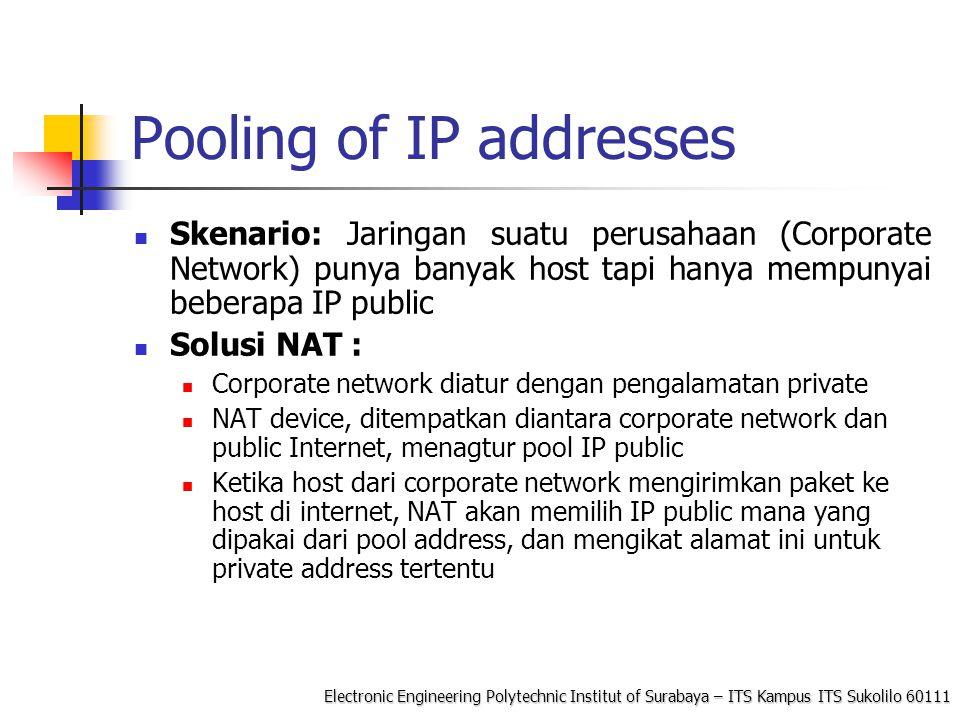Electronic Engineering Polytechnic Institut of Surabaya – ITS Kampus ITS Sukolilo 60111 Konfigurasi NAT di Linux Linux menggunakan paket iptables package untuk melakukan filter pada modul IP