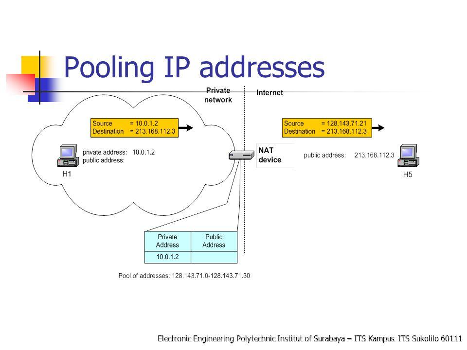 Electronic Engineering Polytechnic Institut of Surabaya – ITS Kampus ITS Sukolilo 60111 Konfigurasi NAT dengan iptable COntoh: iptables –t nat –A POSTROUTING –s 10.0.1.2 –j SNAT --to-source 128.143.71.21 Pooling of IP addresses: iptables –t nat –A POSTROUTING –s 10.0.1.0/24 –j SNAT --to-source 128.128.71.0– 128.143.71.30 ISP migration: iptables –t nat –R POSTROUTING –s 10.0.1.0/24 –j SNAT --to-source 128.195.4.0– 128.195.4.254 IP masquerading: iptables –t nat –A POSTROUTING –s 10.0.1.0/24 –o eth1 –j MASQUERADE Load balancing: iptables -t nat -A PREROUTING -i eth1 -j DNAT --to- destination 10.0.1.2-10.0.1.4