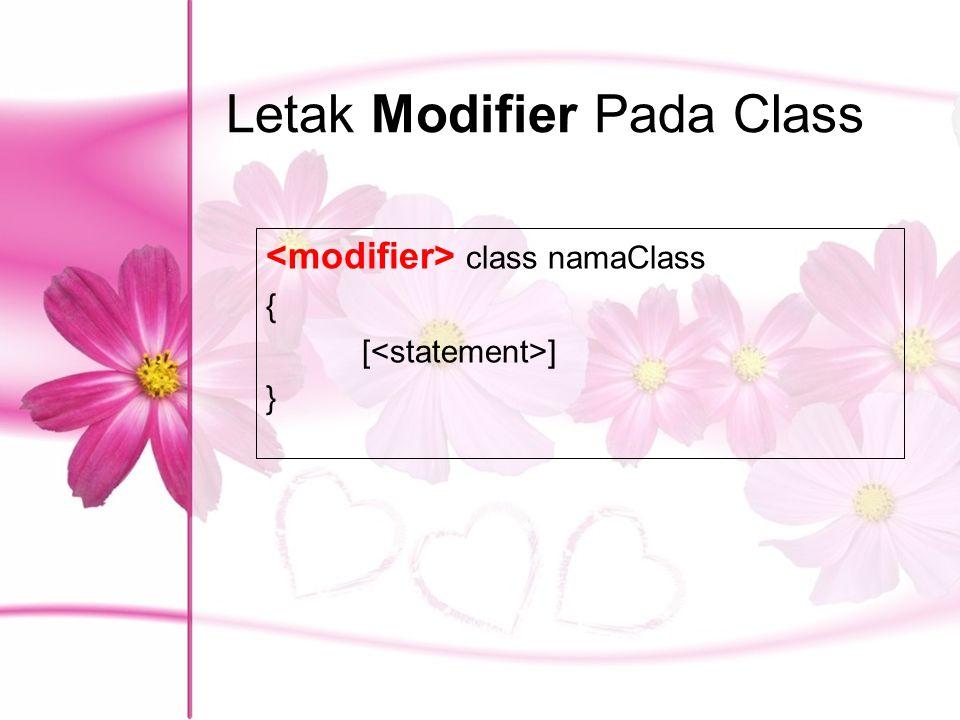 Letak Modifier Pada Class class namaClass { [ ] }