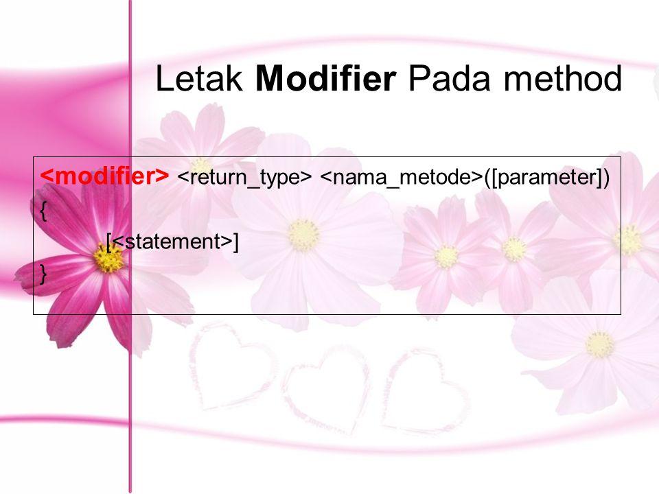 Letak Modifier Pada method ([parameter]) { [ ] }