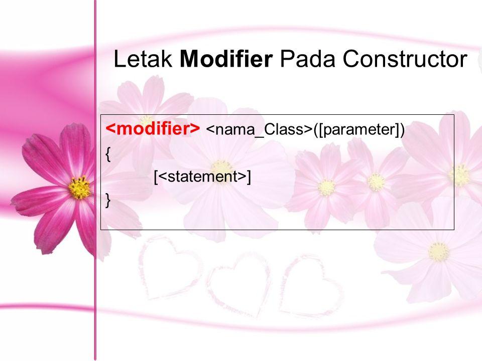 Letak Modifier Pada Constructor ([parameter]) { [ ] }