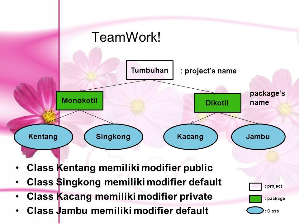 TeamWork! Class Kentang memiliki modifier public Class Singkong memiliki modifier default Class Kacang memiliki modifier private Class Jambu memiliki