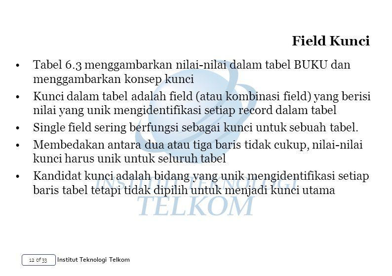 12 of 33 Institut Teknologi Telkom Tabel 6.3 menggambarkan nilai-nilai dalam tabel BUKU dan menggambarkan konsep kunci Kunci dalam tabel adalah field (atau kombinasi field) yang berisi nilai yang unik mengidentifikasi setiap record dalam tabel Single field sering berfungsi sebagai kunci untuk sebuah tabel.