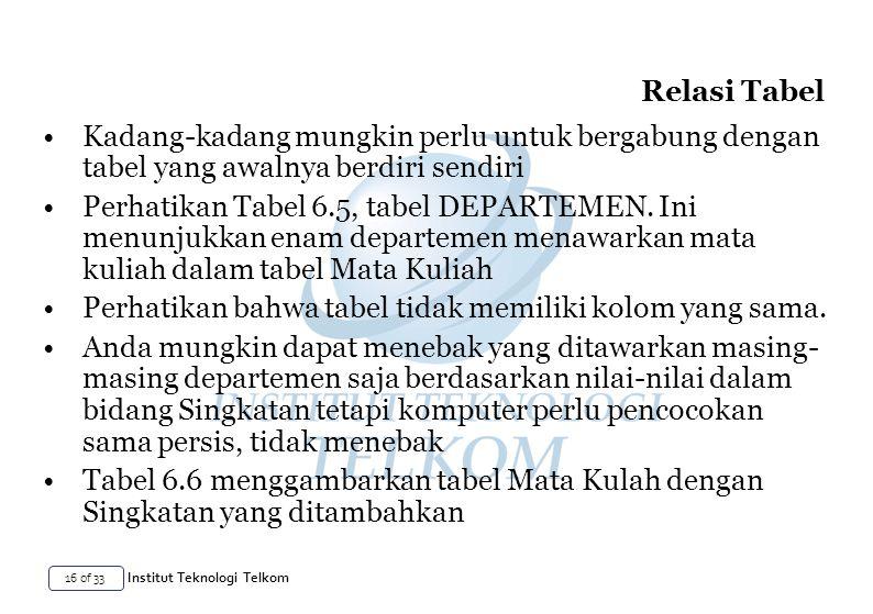 16 of 33 Institut Teknologi Telkom Kadang-kadang mungkin perlu untuk bergabung dengan tabel yang awalnya berdiri sendiri Perhatikan Tabel 6.5, tabel DEPARTEMEN.