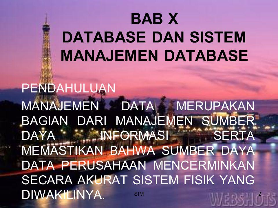SIM2 BAB X DATABASE DAN SISTEM MANAJEMEN DATABASE PENDAHULUAN MANAJEMEN DATA MERUPAKAN BAGIAN DARI MANAJEMEN SUMBER DAYA INFORMASI SERTA MEMASTIKAN BA