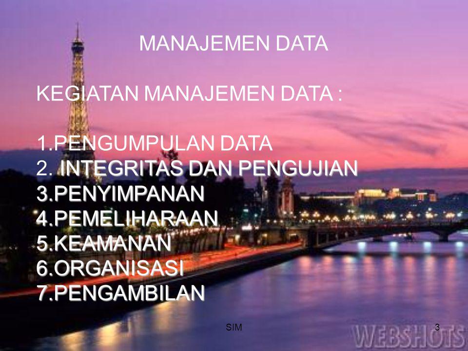 SIM3 MANAJEMEN DATA KEGIATAN MANAJEMEN DATA : 1.PENGUMPULAN DATA INTEGRITAS DAN PENGUJIAN 2. INTEGRITAS DAN PENGUJIAN 3.PENYIMPANAN 4.PEMELIHARAAN 5.K