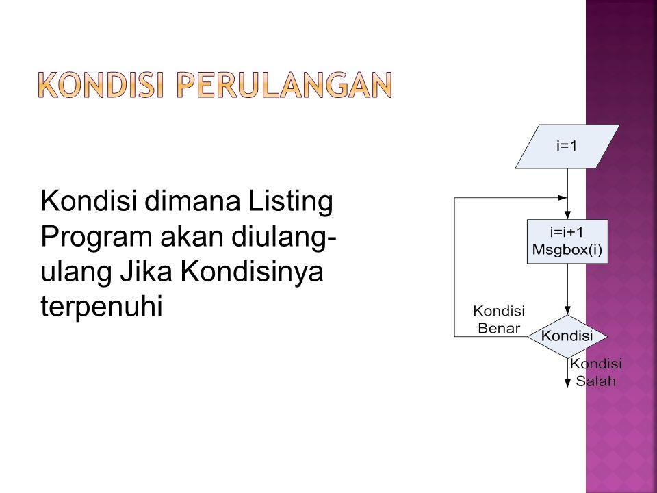 Kondisi dimana Listing Program akan diulang- ulang Jika Kondisinya terpenuhi