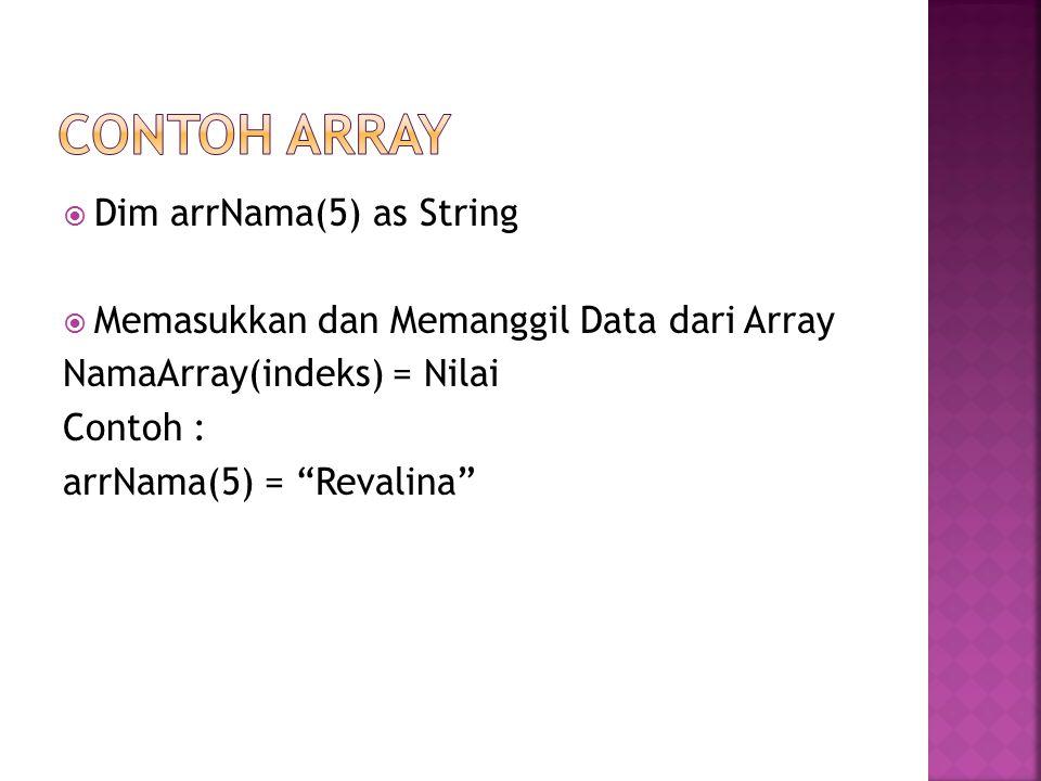 " Dim arrNama(5) as String  Memasukkan dan Memanggil Data dari Array NamaArray(indeks) = Nilai Contoh : arrNama(5) = ""Revalina"""