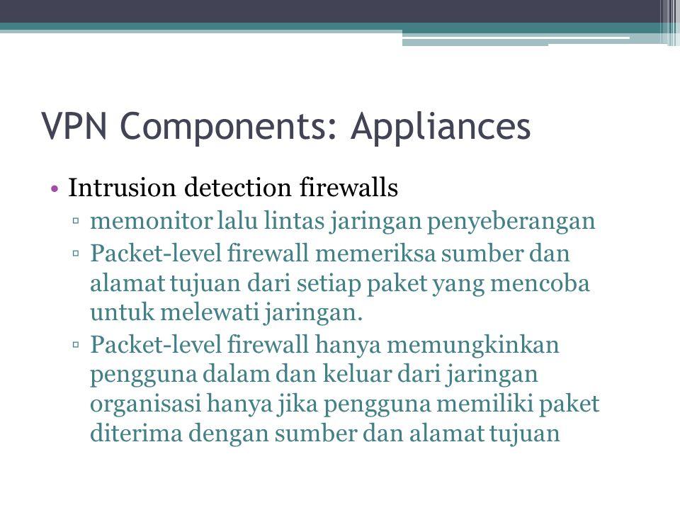 VPN Components: Appliances Intrusion detection firewalls ▫memonitor lalu lintas jaringan penyeberangan ▫Packet-level firewall memeriksa sumber dan ala