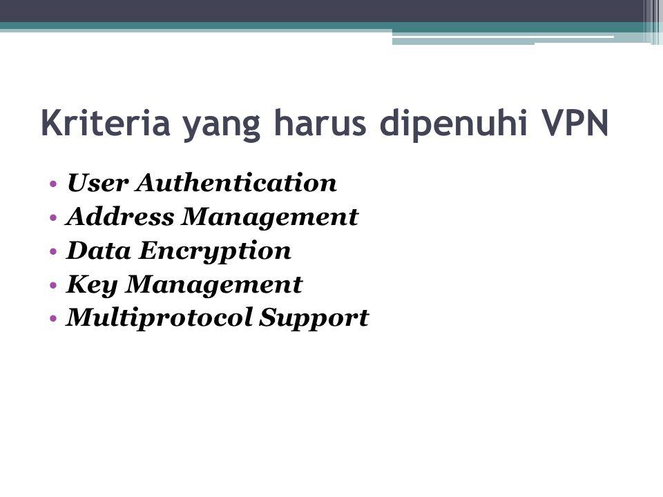 Kriteria yang harus dipenuhi VPN User Authentication Address Management Data Encryption Key Management Multiprotocol Support