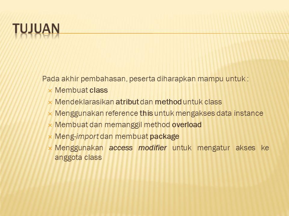 Constructor dapat dideklarasikan dengan menggunakan sintaks berikut ini, ( *) { * }