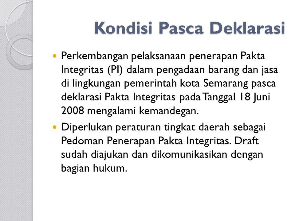 Kondisi Pasca Deklarasi Perkembangan pelaksanaan penerapan Pakta Integritas (PI) dalam pengadaan barang dan jasa di lingkungan pemerintah kota Semarang pasca deklarasi Pakta Integritas pada Tanggal 18 Juni 2008 mengalami kemandegan.