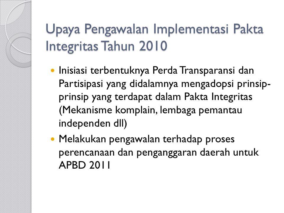 Upaya Pengawalan Implementasi Pakta Integritas Tahun 2010 Inisiasi terbentuknya Perda Transparansi dan Partisipasi yang didalamnya mengadopsi prinsip- prinsip yang terdapat dalam Pakta Integritas (Mekanisme komplain, lembaga pemantau independen dll) Melakukan pengawalan terhadap proses perencanaan dan penganggaran daerah untuk APBD 2011