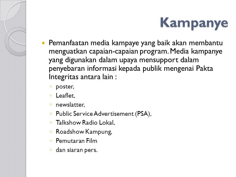 Kampanye Pemanfaatan media kampaye yang baik akan membantu menguatkan capaian-capaian program. Media kampanye yang digunakan dalam upaya mensupport da