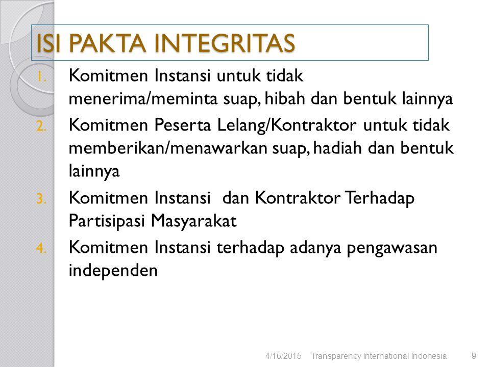 4/16/2015Transparency International Indonesia10 ISI PAKTA INTEGRITAS 5.