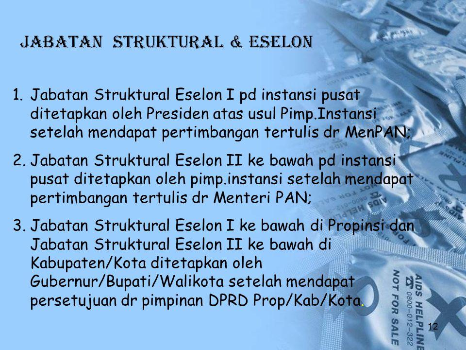 JABATAN STRUKTURAL & ESELON 1.Jabatan Struktural Eselon I pd instansi pusat ditetapkan oleh Presiden atas usul Pimp.Instansi setelah mendapat pertimba