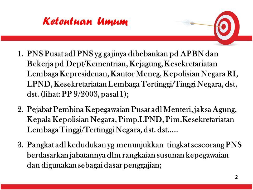 Ketentuan Umum 1.PNS Pusat adl PNS yg gajinya dibebankan pd APBN dan Bekerja pd Dept/Kementrian, Kejagung, Kesekretariatan Lembaga Kepresidenan, Kanto