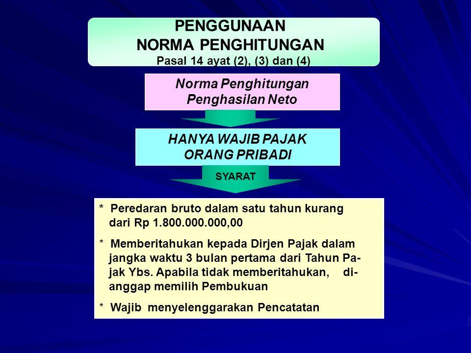 HANYA WAJIB PAJAK ORANG PRIBADI SYARAT * Peredaran bruto dalam satu tahun kurang dari Rp 1.800.000.000,00 * Memberitahukan kepada Dirjen Pajak dalam j