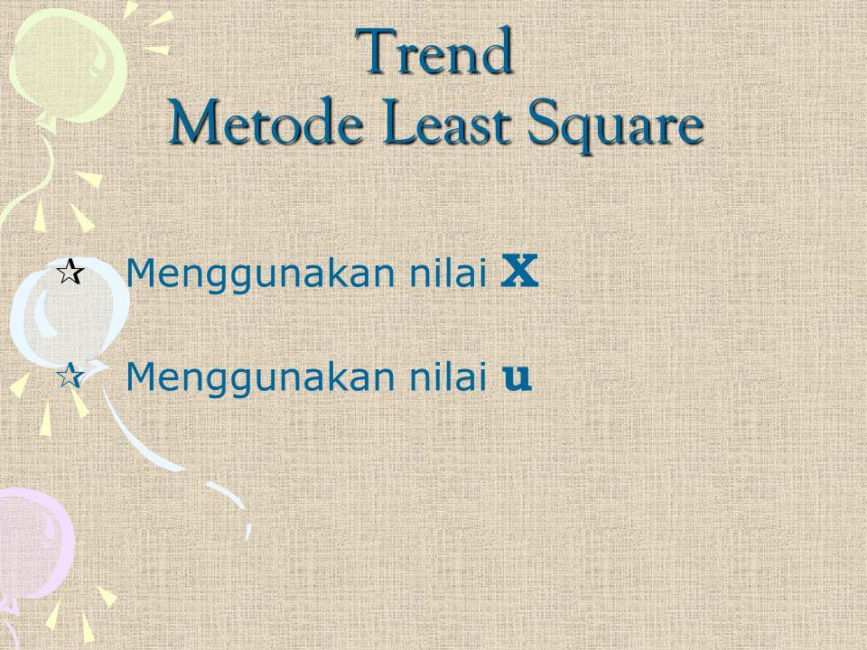 Trend Metode Least Square  Menggunakan nilai X  Menggunakan nilai u