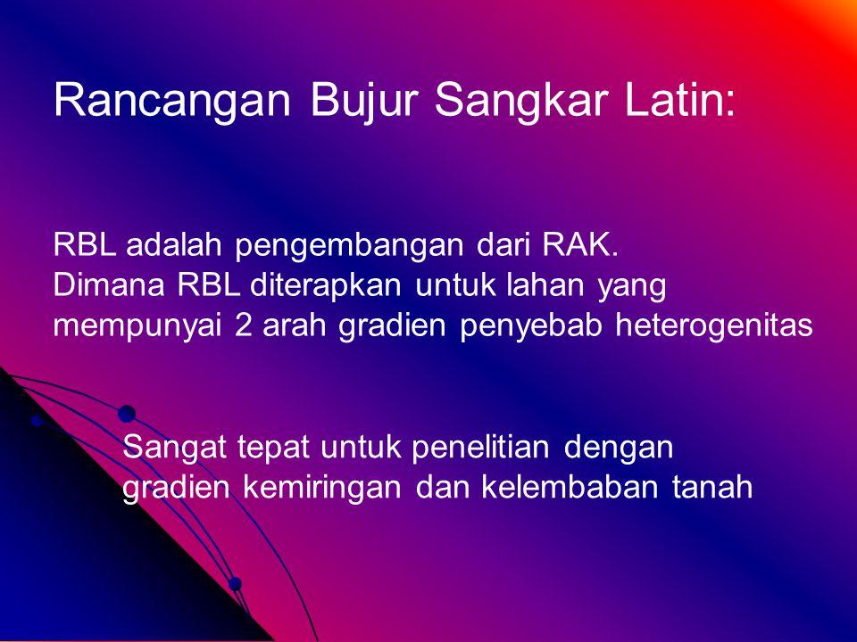 Rancangan Bujur Sangkar Latin: RBL adalah pengembangan dari RAK.