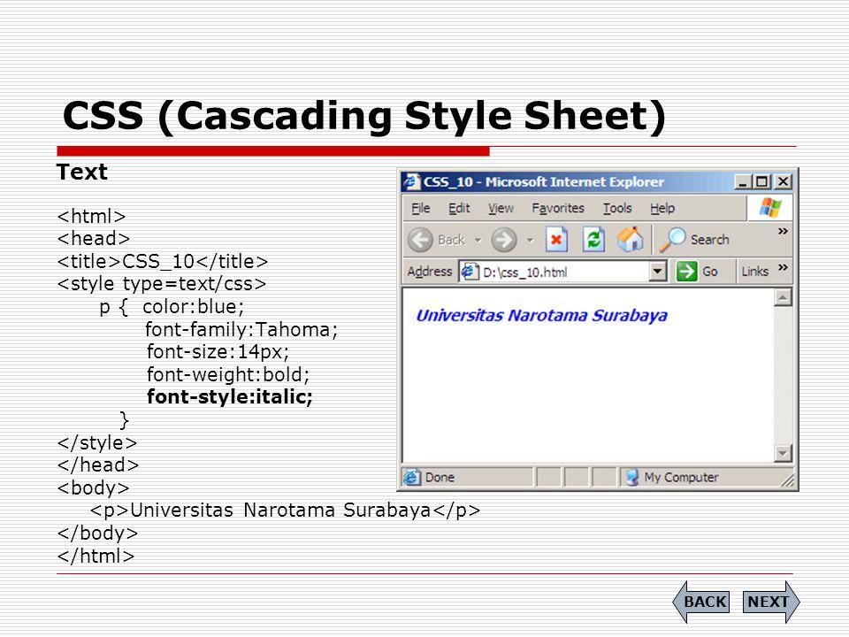 CSS (Cascading Style Sheet)  Soal (6) Tuliskan Source Code dari tampilan berikut dengan menggunakan CSS: END PREVIEW