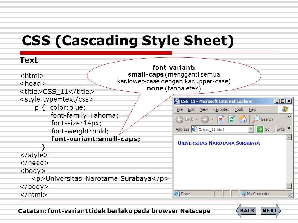 CSS (Cascading Style Sheet) Text CSS_12 p { color:blue; font-family:Tahoma; text-transform:lowercase; } UNIVERSITAS NAROTAMA SURABAYA NEXTBACK text-transform: capitalize (Kar.pertama huruf besar) uppercase (Semua kar.