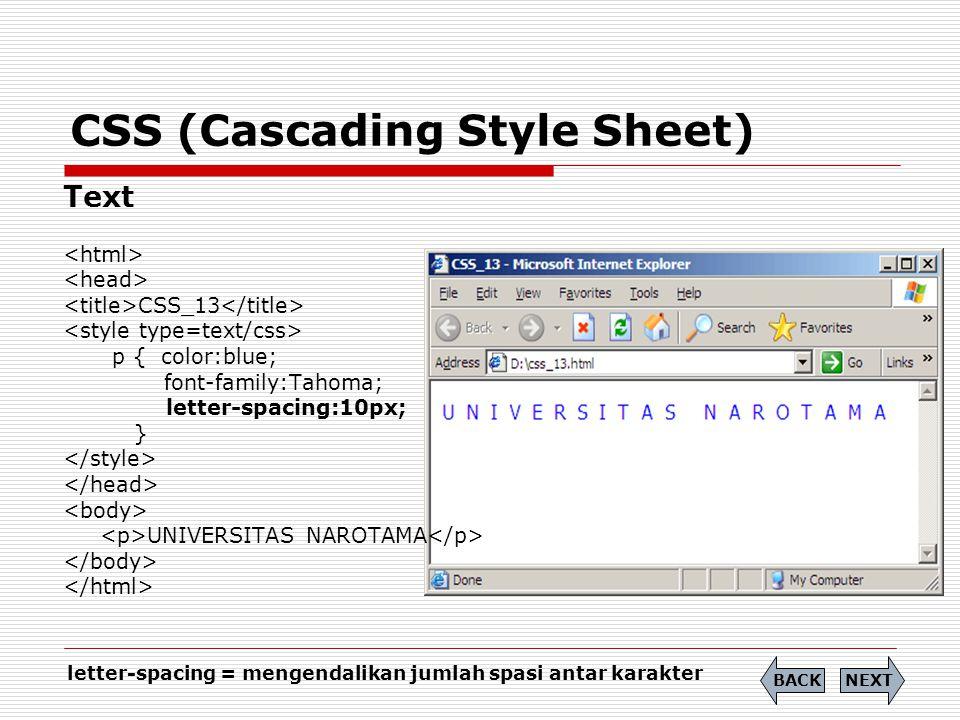 CSS (Cascading Style Sheet) Text CSS_14 p { color:blue; font-family:Tahoma; text-indent:30px; } UNIVERSITAS NAROTAMA NEXTBACK text-indent = membuat indent untuk awal paragraf