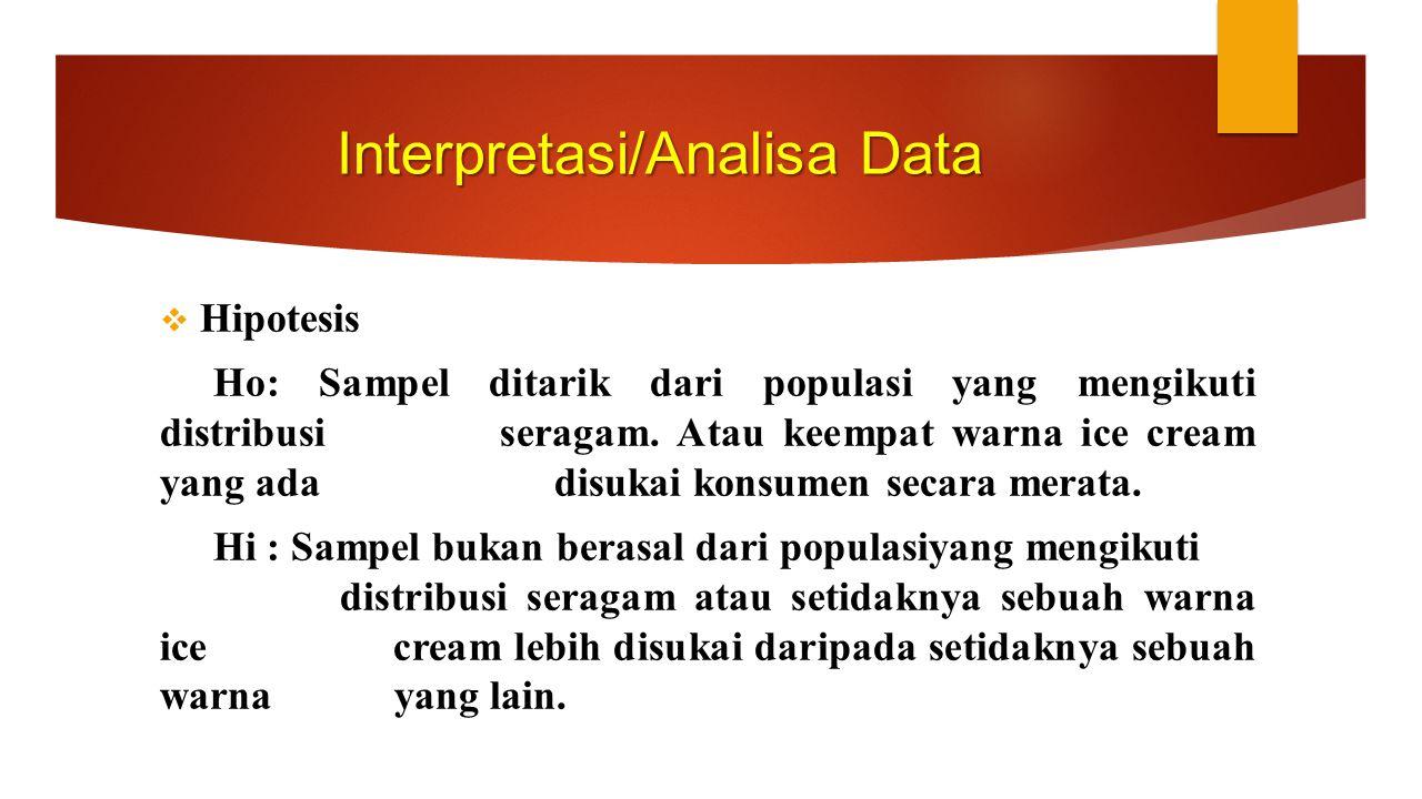 Interpretasi/Analisa Data  Hipotesis Ho: Sampel ditarik dari populasi yang mengikuti distribusi seragam. Atau keempat warna ice cream yang ada disuka