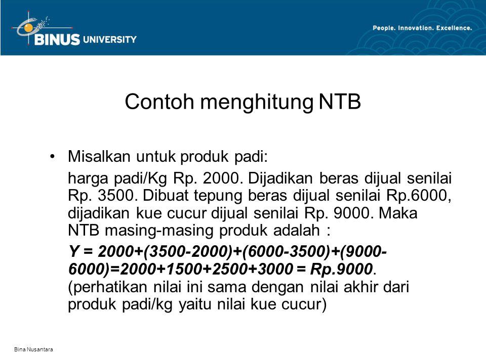 Bina Nusantara Contoh menghitung NTB Misalkan untuk produk padi: harga padi/Kg Rp. 2000. Dijadikan beras dijual senilai Rp. 3500. Dibuat tepung beras