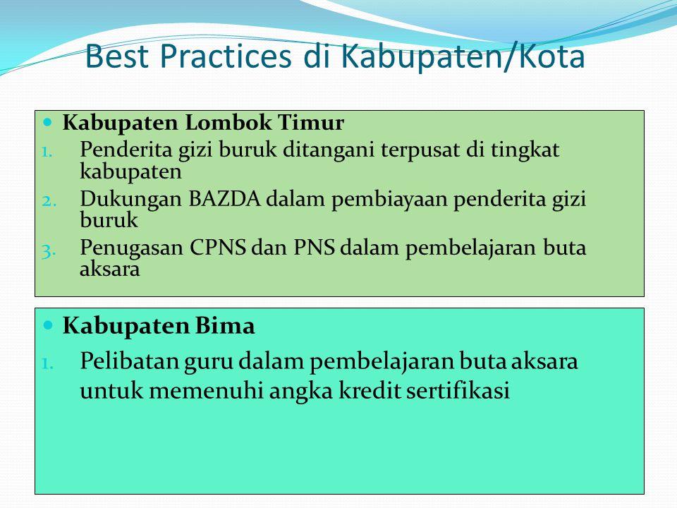 Best Practices di Kabupaten/Kota Kabupaten Lombok Timur 1. Penderita gizi buruk ditangani terpusat di tingkat kabupaten 2. Dukungan BAZDA dalam pembia