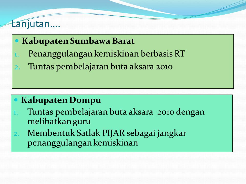Lanjutan…. Kabupaten Sumbawa Barat 1. Penanggulangan kemiskinan berbasis RT 2. Tuntas pembelajaran buta aksara 2010 Kabupaten Dompu 1. Tuntas pembelaj