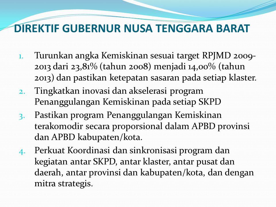 DIREKTIF GUBERNUR NUSA TENGGARA BARAT 1. Turunkan angka Kemiskinan sesuai target RPJMD 2009- 2013 dari 23,81% (tahun 2008) menjadi 14,00% (tahun 2013)